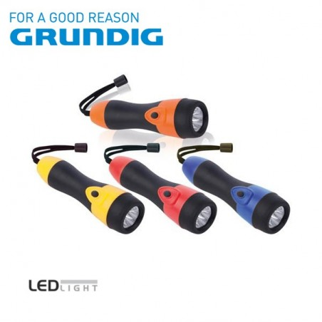 Torcia 3 LED Grundig colorata con impugnatura in gomma lunga 16 cm