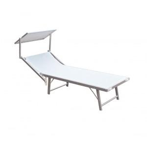 Lettino prendisole alluminio con parasole LUXURIOUS Beach 180X60X40 cm BIANCO