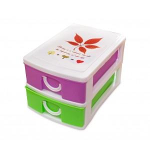 Mini Cassettiera 2 Piani Multicolor WELKHOME 391587 plastica rigida 9x13x8 cm
