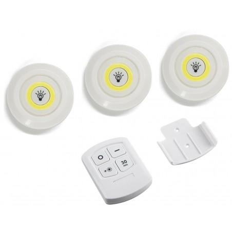 Set di Faretti LED a batterie da 9 cm strip COB 568989 con telecomando e timer