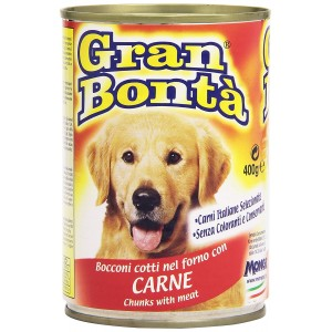 Pack 24x Monge GRAN BONTA' Bocconi di Carne scatoletta per cani da 400g vitamine