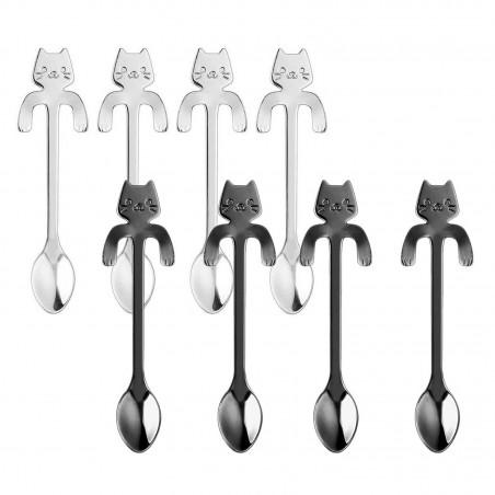 Set di 4x Cucchiaini da caffè te forma di gatto con clip appoggio acciaio inox