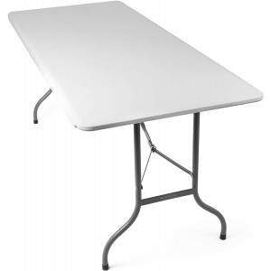 Tavolo pieghevole trasportabile SILVERA con maniglia bianco 180 x 75 x 74 cm