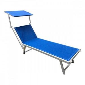 Lettino prendisole alluminio con parasole LUXURIOUS Beach 180X60X40 cm BLU
