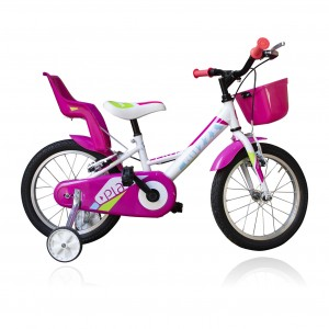 """Bicicletta TECNOBIKE NSR 16"""" modello PLAY GIRL ART 765 con rotelle"""