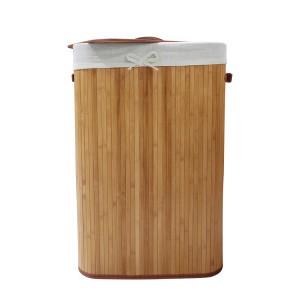 Cesto 60x40x25 cm porta biancheria sporca in bambu' con maniche e coperchio