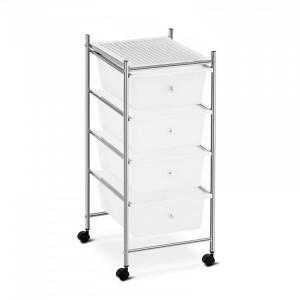 Carrello multifunzione Porta oggetti estetista casa 4 cassetti bianchi e ruote