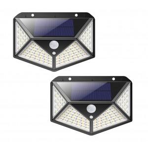 2 pz Lampada a ricarica solare 641006 sensore movimento 100 LED angolo luce 270°