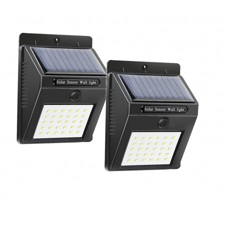 2 pz Faretto da muro ricarica solare e sensore di movimento SMD 20 LED 1200mAH