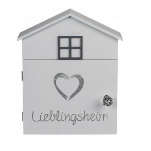 Cassetta porta chiavi 144234 in legno bianco 24 x 6 x 29.5 cm con 6 gancetti