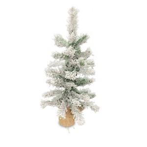Albero di Natale 60h cm innevato 309018 con base juta e 42 rami pieghevoli PVC