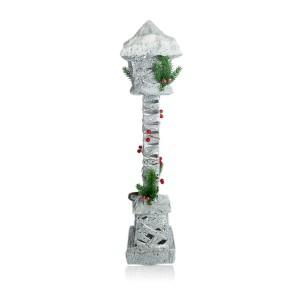 Lampione di Natale 867521 lanterna intrecciata glitter e innevata 60 cm con luce