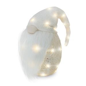 Gnomo con cappello 308034 PANNA da 104 cm con mini lucciole e barba in vinile