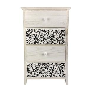 Mobiletto in legno con fantasia a cuori art. 398006 con 4 cassetti 40x29xH73 cm