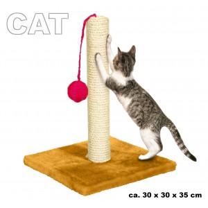 Tiragraffi per unghie gatti con pallina da gioco base in legno rivestito e palo in sisal