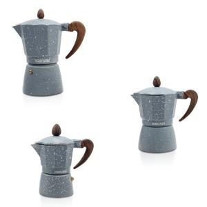 Set 3 caffettiere grigie in alluminio art.103306 manico e pomello effetto legno