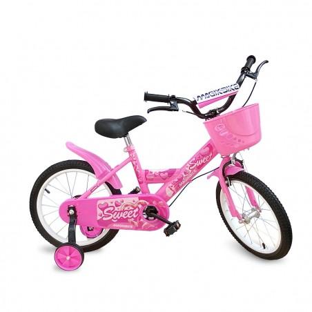 Bicicletta Magic per bambine B062 taglia 16 cestino rotelle età 5-7 anni ROSA