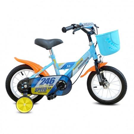 Bicicletta Magic per bambini B065 taglia 16 cestino rotelle età 5-7 anni BLU