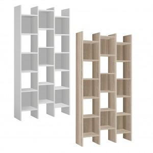 Libreria Italian 264820 Scaffale in Legno MDF con 3 Colonne a Cubi 96x25x192 cm