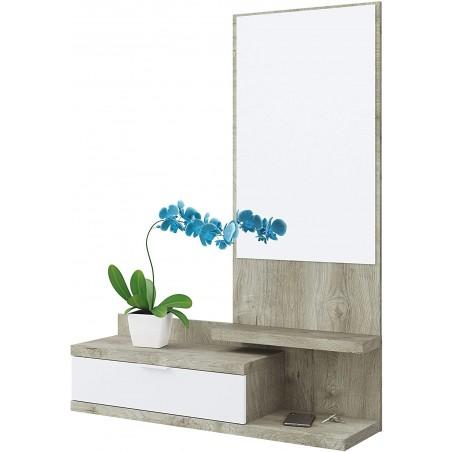 Mobile da Ingresso Dahlia con Cassetto e Specchio in Stile Moderno 116x81x29 cm