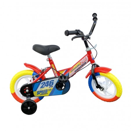 Bicicletta Magic per bambini B056 taglia 12 con Rotelle età 3-4 anni Rossa