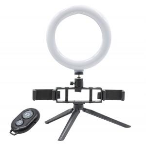 Anello selfie LED con 2 supporti per smartphone art.730492 e 3 modalità di luce