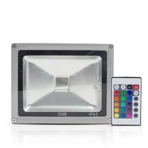 Faro Led RGB da Esterno 20W con Telecomando e Staffa per Parete Protezione IP65