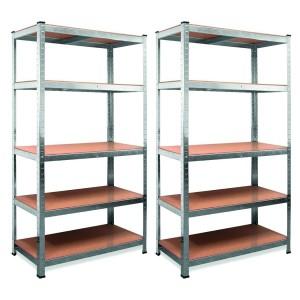 Set 2 Scaffale Alta Portata 875 Kg Metallo 5 Ripiani mdf modulare H180xL90xP40cm